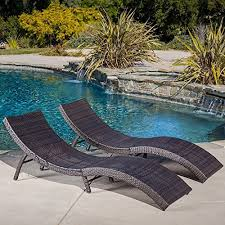 maureen outdoor multibrown pe wicker folding chaise lounge chairs