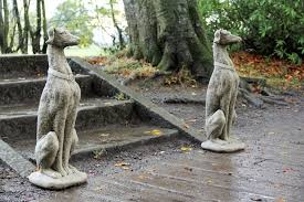 large pair size greyhounds dogs garden ornament statue