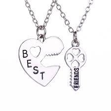 friendship heart 2 pcs set friendship heart key pendant necklaces silver chain best