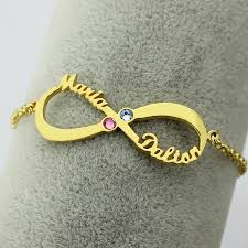 gold name bracelet personalized infinity birthstone bracelet gold color name bracelet