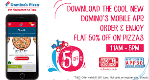 get dominos pizza at flat 50 off through dominos app valid