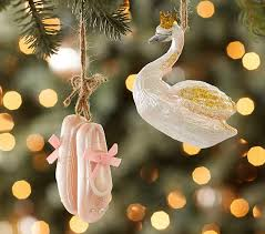 swan ballet slippers mercury glass ornaments pottery barn