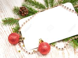 Invitation Card For Christmas Blank Christmas Card Or Invitation With Decorations Stock Photo