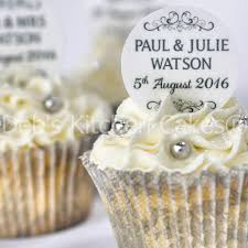 personalised wedding cupcake toppers black and white wedding