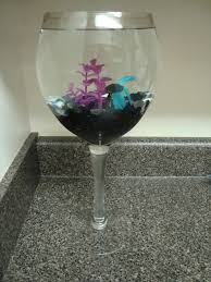 Betta Fish Decorations I Used An Oversized Wine Glass And Put A Beta In It I Added White