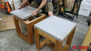 concrete and wood coffee table diy concrete tables installing the top on a concrete side table diy
