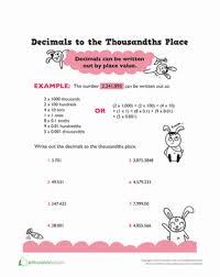 thousandth decimal place worksheet education com