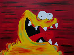 yellow monster painting cute monster art 9x12 inch painting