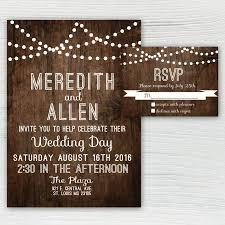 rustic wood wedding invitation country wedding invitation string