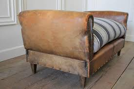 antique french leather drop arm daybed sofa with french mattress