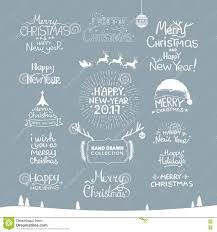 merry happy new year 2017 typography set vector logo