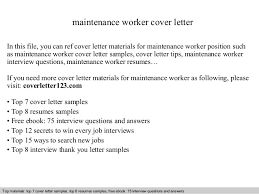 Sample Resume For Maintenance Worker by Maintenance Worker Cover Letter
