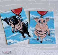 pigs can fly new pig aceo cards for sale
