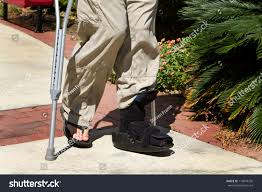 Walking Up Stairs With Crutches by Man Uses Crutches Along Foot Ankle Stock Photo 114018736