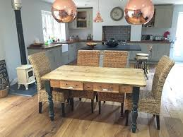 farmhouse table with metal chairs reclaimed chunky farmhouse tables made to any size or colour uk on