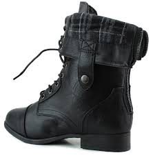 womens combat boots aesthetic official s lace up foldable ankle mid