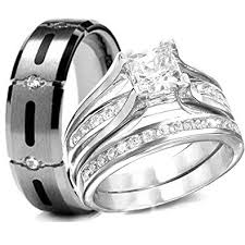 engagement and wedding ring set his hers 3 pieces 925 sterling silver titanium