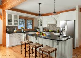 elegance country style kitchen design with pendant lamps above