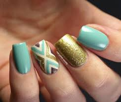 luxe gold and tiffany blue nails nail art by emiline harris