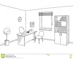 Room Sketch Office Room Interior Graphic Art Black White Sketch Illustration