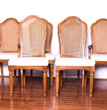 set of six thomasville cane back dining chairs ebth