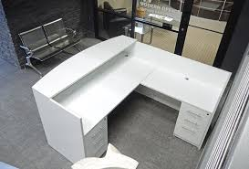 Glass Desk With Storage Shaped White Reception Desk W Frosted Glass Panel