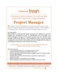 Job Desk Project Manager Job Opening Project Manager U2014 Fresh Intelligence Research Corp
