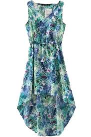 green floral printed high low chiffon dress casual dresses women