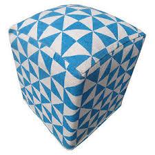 blue and white ottoman rhoda blue white traingles style stitched wool ottoman pouffe
