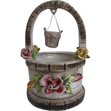 vintage capodimonte porcelain wishing well planter w roses made