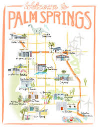 Travel Time Map Palm Springs California Illustrated Travel Map By Stripedcatstudio