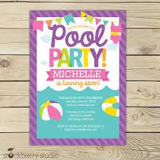 printable watercolor pool party birthday invitation