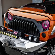 jeep angry headlights angry bird topfire matte black front grill grille for jeep