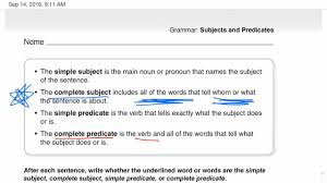 complete subject and predicate youtube