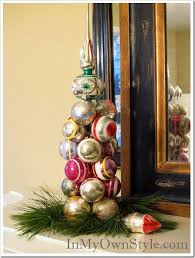 tabletop ornament tree using a knitting needle in my own