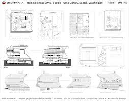 seattle library drawings plan representación arquitectónica