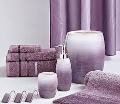 attractive bathroom accessories purple interior design in sets