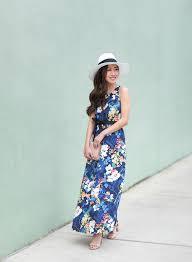 blue floral maxi dress convertible scallop purse extra petite