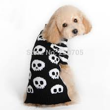Cool SKULL Striped Puppy Dog Sweater Knit Crochet Winter pet clothes