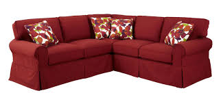 Slipcover Sectional Sofa by Two Piece Slipcovered Sectional Sofa With Raf Return Sofa By
