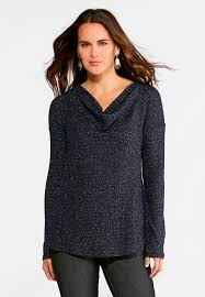 Draped Neckline Tops Metallic Drape Neck Top Plus Tees U0026 Knit Tops Cato Fashions