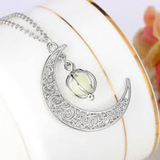 stone charm necklace images Luminous stone necklaces fashion women 39 s stone shine moon charm jpg