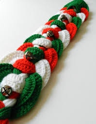 crochet christmas braided wall hanging door hanger with silver