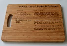 cutting board with recipe engraved personalised chopping board recipe large solid wooden chopping