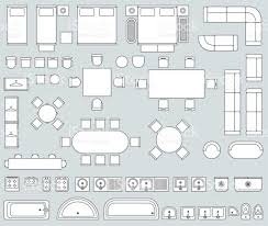 Floor Plan Icons by Top View Interior With Line Furniture Icons Vector Set Stock