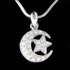 jewelry charm necklace images Swarovski crystal dream crescent moon wish wishing star islam jpg