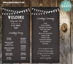 vintage wedding programs string lights wedding ceremony cards wedding program chalk board