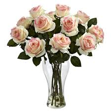 Vase With Roses Nearly Natural Blooming Roses With Vase In Light Pink 1328 Lp