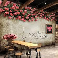 photo 3d wallpaper european retro nostalgic rose tv wall cafe bar