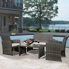 Replace Glass On Patio Table by Amazon Com Goplus 4 Pc Rattan Patio Furniture Set Garden Lawn